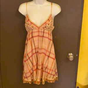 Free People Floral Dress Pink Floral & Plaid XS/S